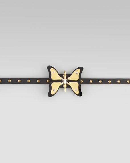 Adjustable Leather Butterfly Belt, Nero