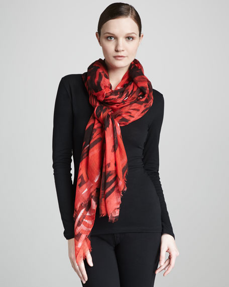 Brushstroke Grid-Print Scarf, Red Multicolor