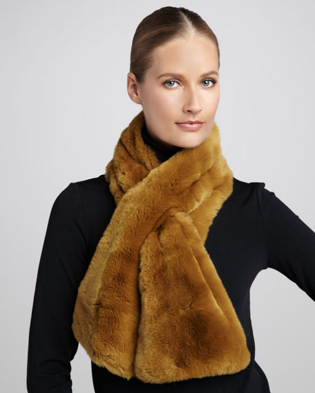 Pull-Through Rabbit Fur Scarf, Jaune
