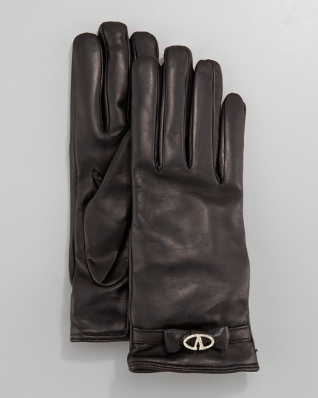 V Strass Logo Leather Gloves