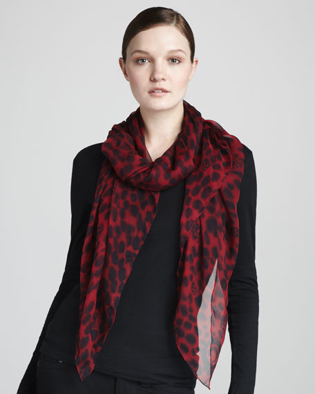 Leopard-Print & Skull Scarf, Red