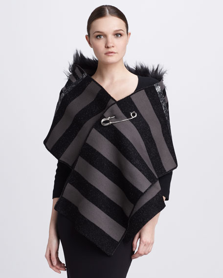 Faux-Fur-Collared Striped Knit Scarf