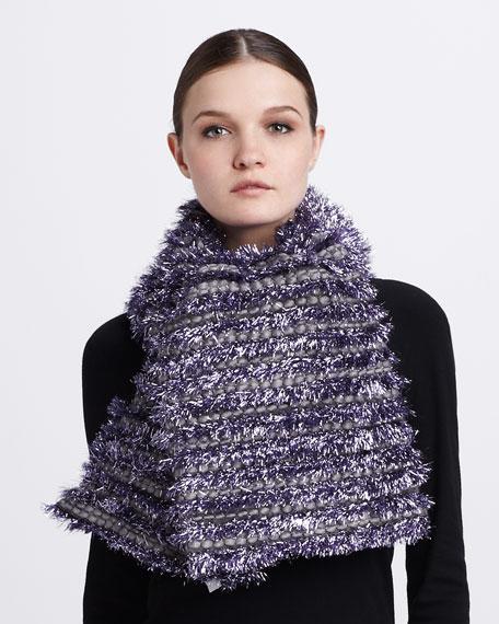 Tinsel-Striped Tweed Scarf, Lilac