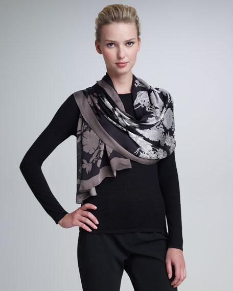 Floral-Print Silk Stole