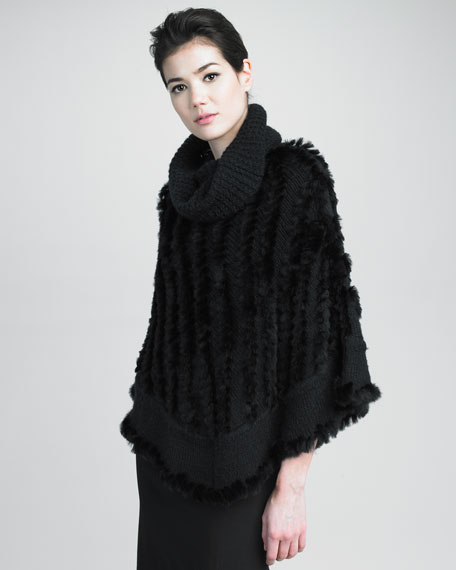 Ribbed-Trim Rabbit Fur Poncho