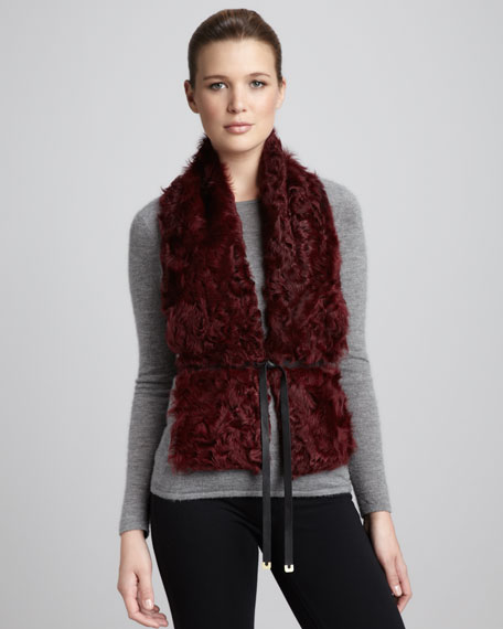 Curly Lamb  Fur Vest, Tiger's Eye
