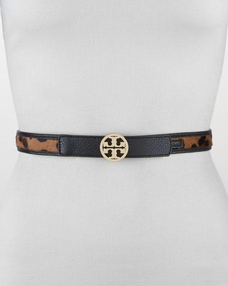 Leopard-Print Calf Hair T-Logo Belt