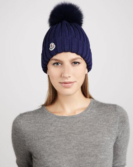 Ribbed Pompom Hat, Blue
