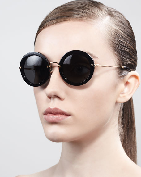 Oversize Circle Sunglasses, Black