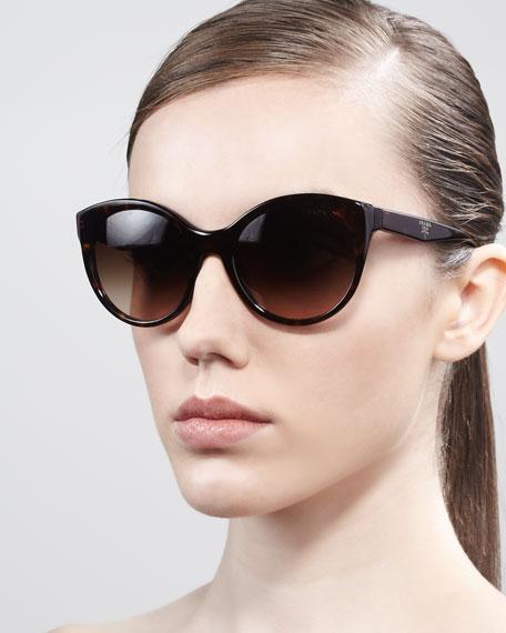 Rounded Cat-Eye Sunglasses, Havana
