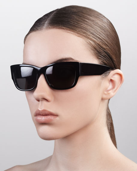 Sasha Wide-Arm Square Sunglasses, Black