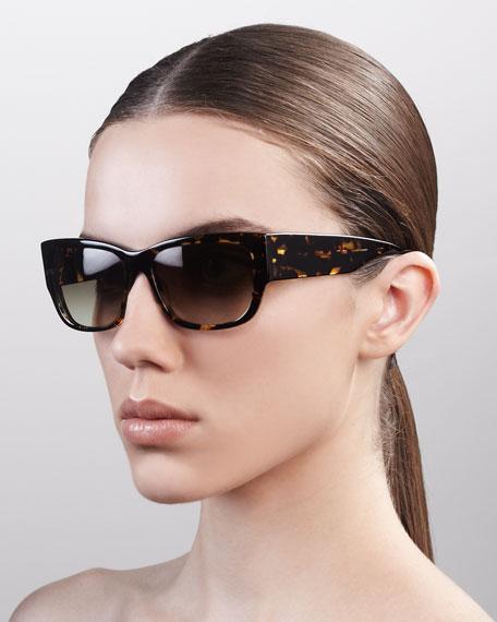 Sasha Wide-Arm Square Sunglasses, Heroine Chic