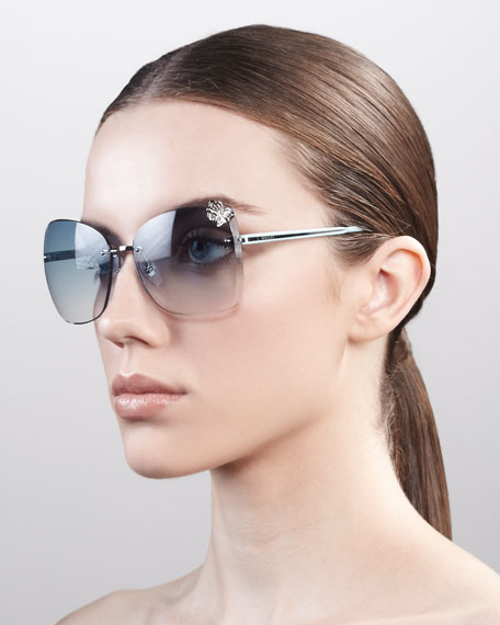 Butterfly-Temple Rimless Sunglasses, Palladium/Rose