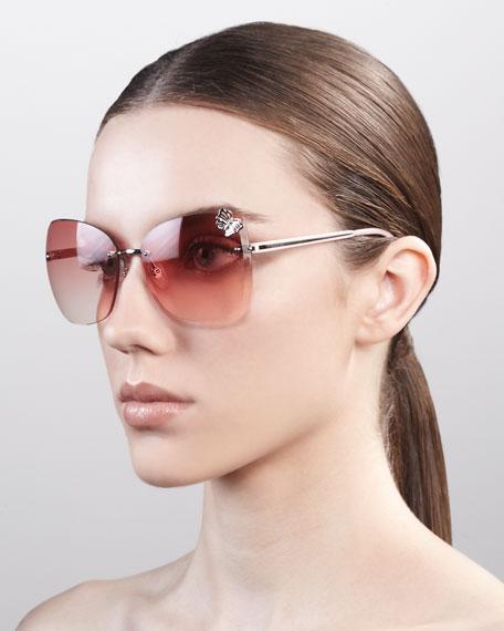 Butterfly-Temple Rimless Sunglasses, PalladiumRose