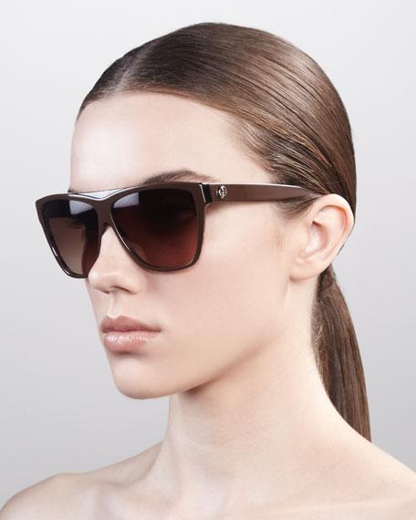 Square Plastic Sunglasses, Brown