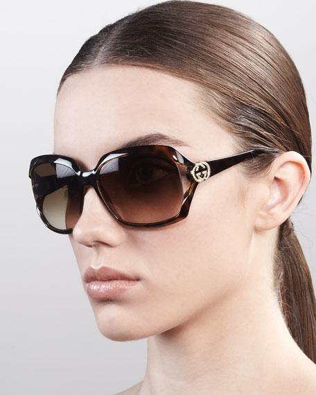 GG Logo Plastic Sunglasses, Havana