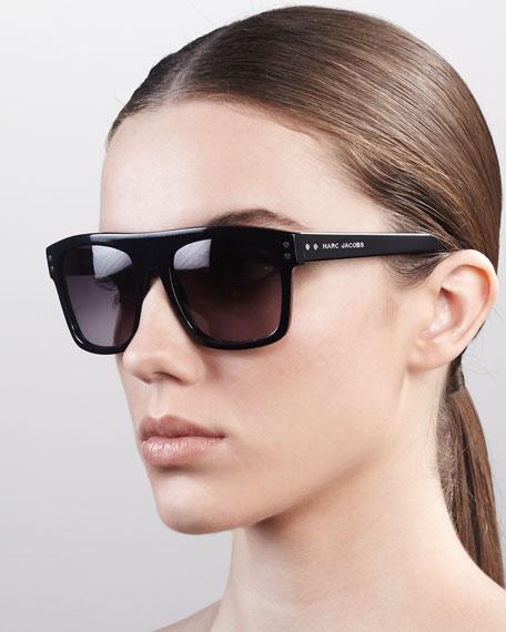 Square Sunglasses with Logo, Black
