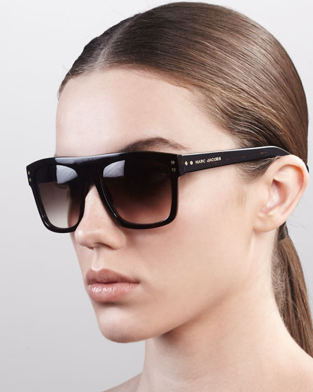 Square Sunglasses with Logo, Dark Havana