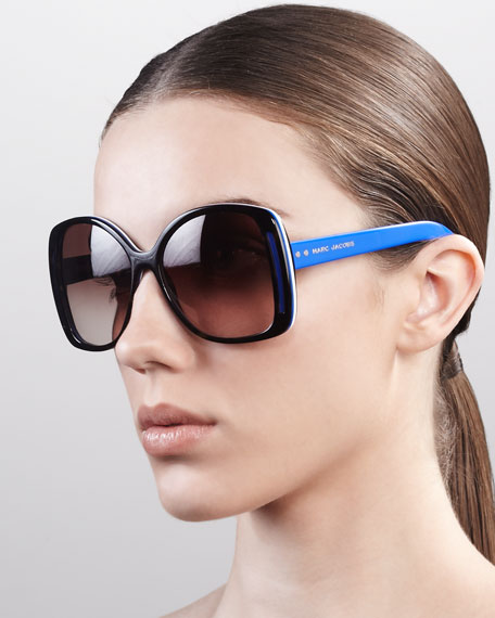Oversized Oval Sunglasses, Havana/Blue/White