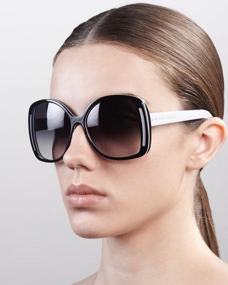 Oversized Oval Sunglasses, Black/Gray/Brown