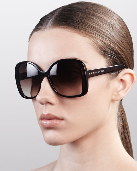 Oversized Oval Sunglasses, Black/Dark Tortoise