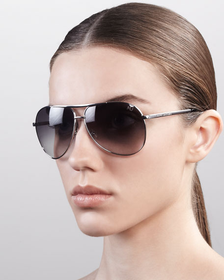 Classic Aviator Sunglasses, Shiny Rhodium