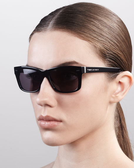 Cat Eye Logo Sunglasses, Black