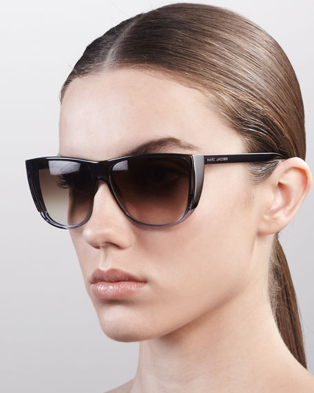 Oversized Ombre Sunglasses, Brown/Nude