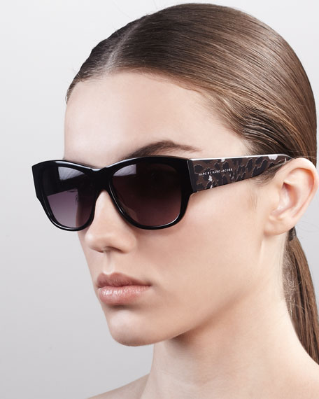 Leopard-Pattern Square Sunglasses, Black