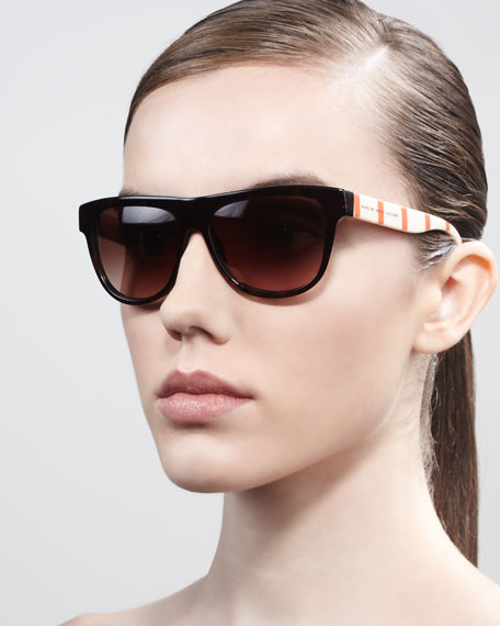 Contrast-Arm Enamel Sunglasses, Dark Havana