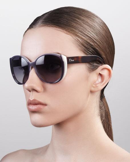 Oversized Rounded Sunglasses, Gray Milk