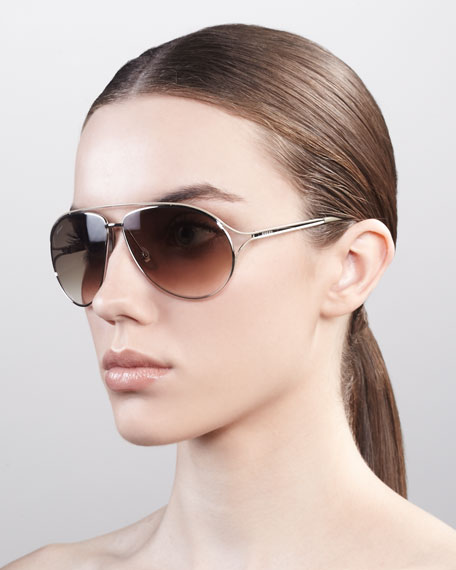 Metal Aviator Sunglasses, Palladium