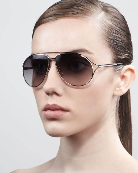 Metal Aviator Sunglasses, Shiny Black