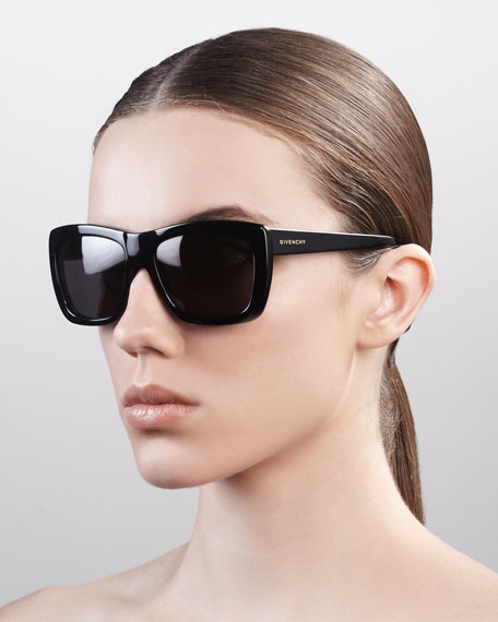 Oversized Square Sunglasses, Shiny Black