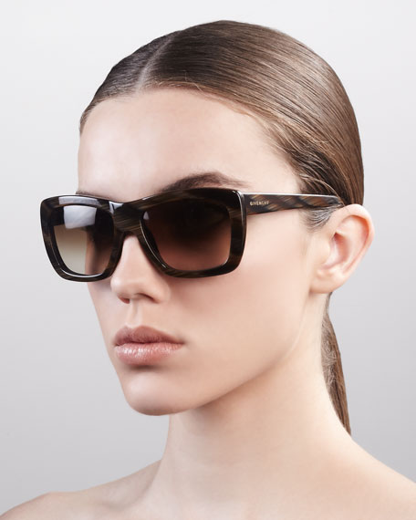 Oversized Square Sunglasses, Brown Horn