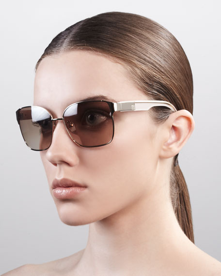 Square Metal Sunglasses, Shiny Gold