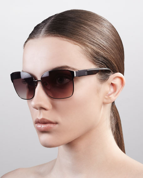 Square Metal Sunglasses, Bronze/Brown