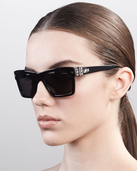 Square Hardware Sunglasses, Black