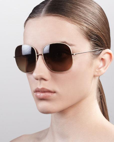 Daisy Oversize Feminine Sunglasses, Golden