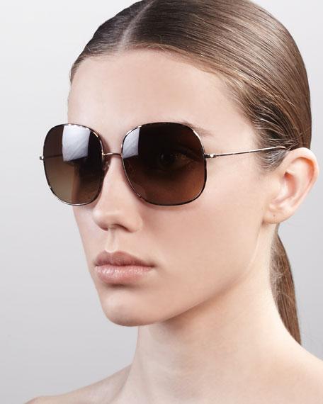 Daisy Oversize Feminine Sunglasses, Golden Tortoise