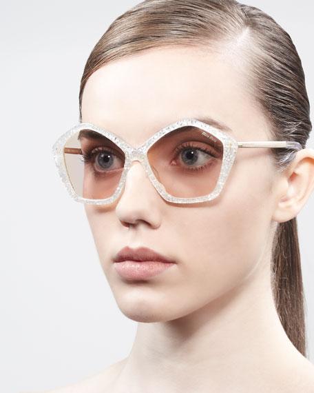 Pentagon Glitter Enamel Sunglasses, Transparent