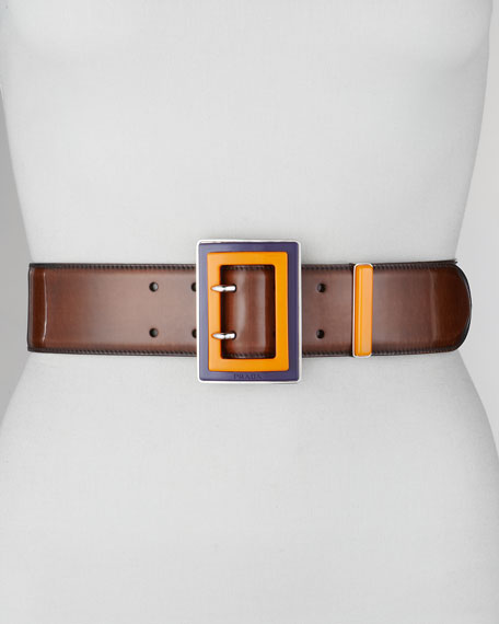 Spazzolato Colorblock-Buckle Belt