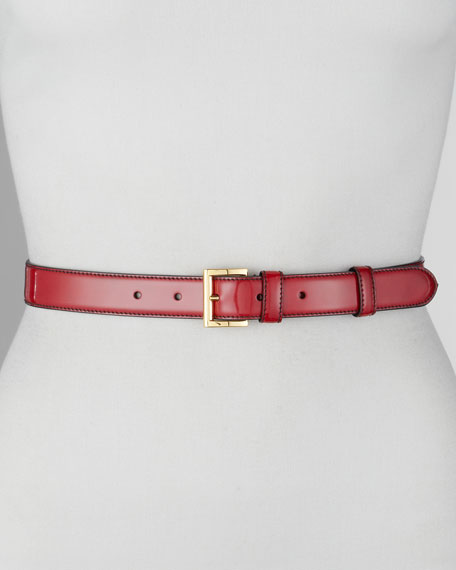 Spazzolato Dress Belt, Scarlatto