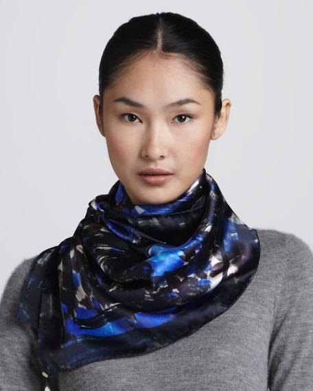 Floral Silk Scarf, Blue