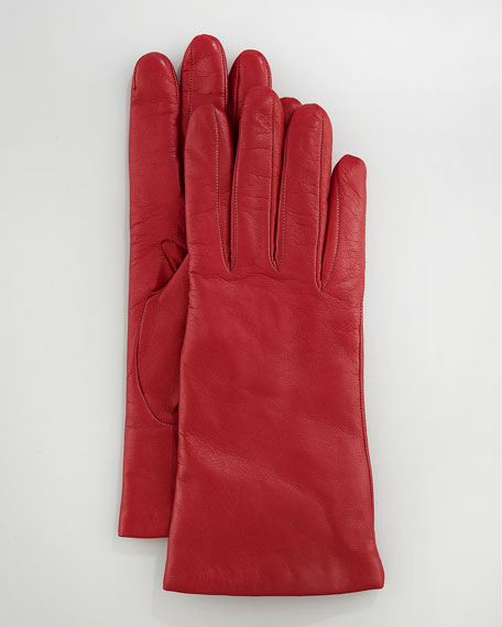 Leather Glove, Orange/amalfi