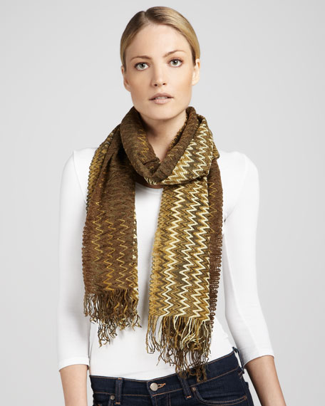 Zigzag-Striped Fringe Scarf