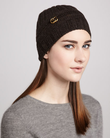 GG-Medallion Knit Cap, Coffee