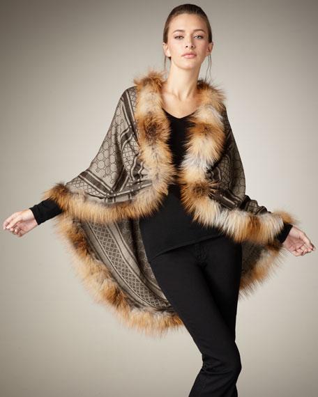 GG Pattern Fur-Trim Stole