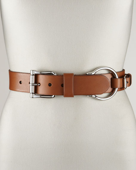 Leather Contour Belt, Tan