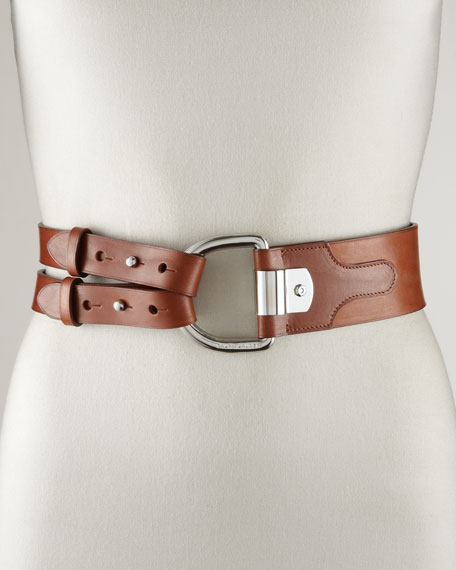 Tri-Strap Leather Belt, Tan